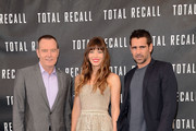 """(L-R) Actors Jessica Biel, Colin Farrell, and Kate Beckinsale attend the photo call for Columbia Pictures' """"Total Recall"""" held at the Four Seasons Hotel on July 28, 2012 in Los Angeles, California."""