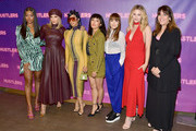 "(L-R) Keke Palmer, Cardi B, Jennifer Lopez, Constance Wu, Lorene Scafaria, Lili Reinhart, and Elaine Goldsmith Thomas attend STX Entertainment's ""Hustlers"" Photo Call at Four Seasons Los Angeles at Beverly Hills on August 25, 2019 in Los Angeles, California."