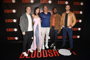 "Director Dave Wilson, Eiza Gonzalez, Vin Diesel, Lamorne Morris and Sam Heughan attend a photocall for Sony Pictures' ""Bloodshot"" at The London Hotel on March 06, 2020 in West Hollywood, California."
