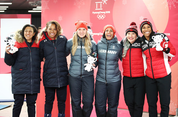 Bobsleigh - Winter Olympics Day 12 [red,social group,event,team,performance,elana meyers taylor,lauren gibbs,l-r,gold,silver,bronze,united states,canada,womens bobsleigh,winter olympics]