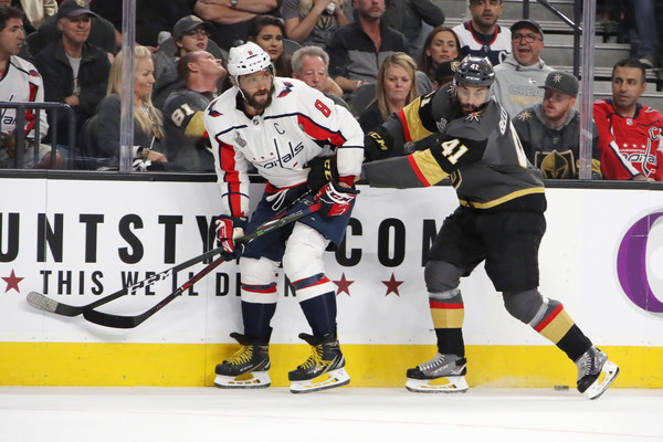 2018 NHL Stanley Cup Final - Game Five [sports,team sport,hockey protective equipment,ice hockey,college ice hockey,player,sports gear,ice hockey equipment,hockey,tournament,alex ovechkin,five,position,game five,nhl,washington capitals,vegas golden knights,stanley cup final,battle,nhl stanley cup final]