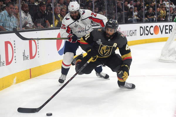 2018 NHL Stanley Cup Final - Game One [player,college ice hockey,ice hockey,ice hockey position,defenseman,sports,hockey protective equipment,team sport,sports gear,hockey,game one,pierre-edouard bellemare,devante smith-pelly 25,t-mobile arena,las vegas,nevada,nhl,washington capitals,vegas golden knights,stanley cup final]