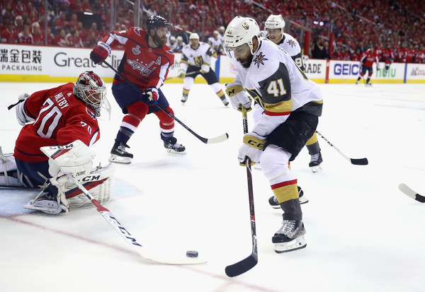 2018 NHL Stanley Cup Final - Game Three [player,college ice hockey,ice hockey,ice hockey position,sports gear,sports,hockey,hockey protective equipment,hockey pants,sports equipment,pierre-edouard bellemare,game,three,goal,game three,capital one arena,nhl,washington capitals,vegas golden knights,stanley cup final]