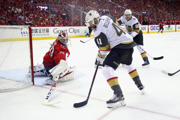 2018 NHL Stanley Cup Final - Game Three [player,college ice hockey,ice hockey,ice hockey position,sports,sports gear,hockey,hockey protective equipment,sports equipment,team sport,pierre-edouard bellemare,game,three,goal,game three,capital one arena,nhl,washington capitals,vegas golden knights,stanley cup final]