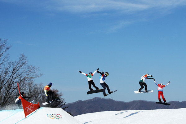 Snowboard - Winter Olympics Day 6 [snow,skier,recreation,slopestyle,winter sport,sports,winter,skiing,individual sports,sports equipment,pierre vaultier,pack,france,pyeongchang-gun,south korea,phoenix snow park,winter olympics,mens snowboard cross big final,pyeongchang 2018 winter olympic games]