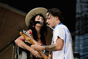 Nikki Lane and her guitarist perform during Pilgrimage Music & Cultural Festival on September 23, 2017 in Franklin, Tennessee.