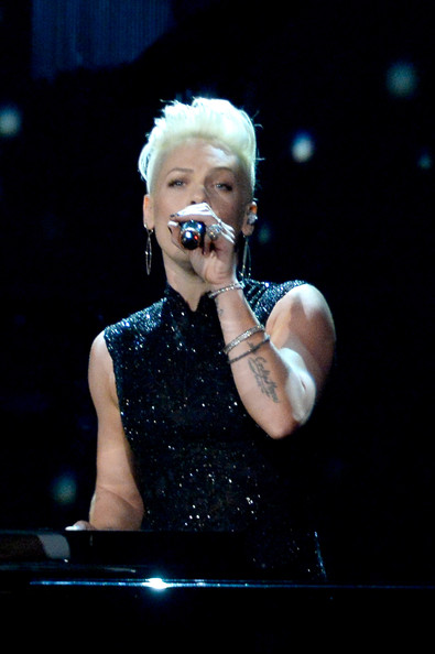 Pink Pink performs onstage at The 2014 MusiCares Person Of The Year Gala Honoring Carole King at Los Angeles Convention Center on January 24, 2014 in Los Angeles, California.