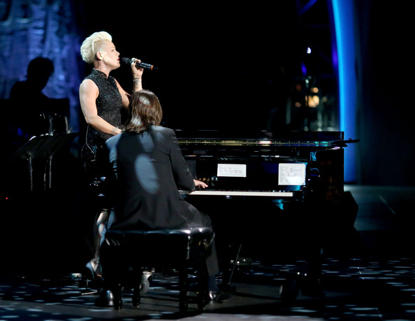 Pink Singer Pink performs onstage at 2014 MusiCares Person Of The Year Honoring Carole King at Los Angeles Convention Center on January 24, 2014 in Los Angeles, California.