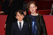 """(L-R) Federico Ielapi and Alida Baldari Calabria pose at the """"Pinocchio"""" premiere during the 70th Berlinale International Film Festival Berlin at Berlinale Palast on February 23, 2020 in Berlin, Germany."""