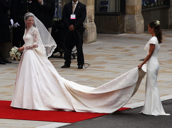 Pippa Middleton Catherine Middleton arrives for the Royal Wedding of Prince William to Catherine Middleton at Westminster Abbey on April 29, 2011 in London, England. The marriage of the second in line to the British throne is to be led by the Archbishop of Canterbury and will be attended by 1900 guests, including foreign Royal family members and heads of state. Thousands of well-wishers from around the world have also flocked to London to witness the spectacle and pageantry of the Royal Wedding.