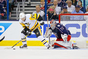 Sergei Bobrovsky #72 of the Columbus Blue Jackets prepares to stop a shot from Patric Hornqvist #72 of the Pittsburgh Penguins in Game Four of the Eastern Conference First Round during the 2017 NHL Stanley Cup Playoffs on April 18, 2017 at Nationwide Arena in Columbus, Ohio.