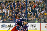 Brandon Dubinsky #17 of the Columbus Blue Jackets shoots the puck into the Pittsburgh Penguins zone in Game Four of the Eastern Conference First Round during the 2017 NHL Stanley Cup Playoffs on April 18, 2017 at Nationwide Arena in Columbus, Ohio.