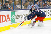 Sergei Bobrovsky #72 of the Columbus Blue Jackets controls the puck in Game Four of the Eastern Conference First Round during the 2017 NHL Stanley Cup Playoffs against the Pittsburgh Penguins on April 18, 2017 at Nationwide Arena in Columbus, Ohio. Columbus defeated Pittsburgh 5-4.