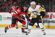 Patric Hornqvist #72 of the Pittsburgh Penguins skates against the New Jersey Devils at the Prudential Center on March 29, 2018 in Newark, New Jersey. The Penguins defeated the Devils 4-3 in overtime.