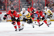 Derick Brassard #19, Tom Pyatt #10 and Erik Karlsson #65 of the Ottawa Senators skate against Jake Guentzel #59 and Sidney Crosby #87 of the Pittsburgh Penguins in Game Six of the Eastern Conference Final during the 2017 NHL Stanley Cup Playoffs at Canadian Tire Centre on May 23, 2017 in Ottawa, Ontario, Canada.  (Photo by Jana Chytilova/Freestyle Photography/Getty Images) *** Local Caption ***