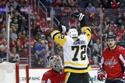 Patric Hornqvist #72 of the Pittsburgh Penguins celebrates the game winning goal by Jake Guentzel #59 (not shown) against Braden Holtby #70 of the Washington Capitals at 7:48 of the third period in Game One of the Eastern Conference Second Round during the 2018 NHL Stanley Cup Playoffs at the Capital One Arena on April 26, 2018 in Washington, DC. The Penguins defeated the Capitals 3-2.