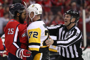 Devante Smith-Pelly #25 of the Washington Capitals and Patric Hornqvist #72 of the Pittsburgh Penguins yell at one another during the third period in Game Two of the Eastern Conference Second Round during the 2018 NHL Stanley Cup Playoffs at Capital One Arena on April 29, 2018 in Washington, DC.