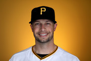 Daniel Nava #15 of the Pittsburgh Pirates poses for a photo during photo days at LECOM Park on February 21, 2018 in Bradenton, Florida.