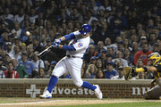 Anthony Rizzo #44 of the Chicago Cubs hits a sacrifice RBI against the Pittsburgh Pirates during the third inning on September 26, 2018 at Wrigley Field in Chicago, Illinois.