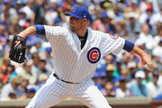 Starting pitcher Jon Lester #34 of the Chicago Cubs delivers the ball against the Pittsburgh Pirates at Wrigley Field on July 9, 2017 in Chicago, Illinois.