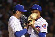 Anthony Rizzo #44 of the Chicago Cubs (L) has words with Carl Edwards Jr. #6 after edwards walked the first batter in the 8th inning against the Pittsburgh Pirates at Wrigley Field on September 27, 2018 in Chicago, Illinois. The Cubs defeated the Pirates 3-0.