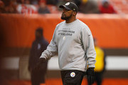 Head coach Mike Tomlin of the Pittsburgh Steelers looks on prior to the game against the Cleveland Browns at FirstEnergy Stadium on January 3, 2016 in Cleveland, Ohio.