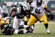 Running back Chris Ivory #33 of the New York Jets carries the ball against the Pittsburgh Steelers during a game at MetLife Stadium on November 9, 2014 in East Rutherford, New Jersey.