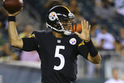 Quarterback Bruce Gradkowski #5 of the Pittsburgh Steelers attempts a pass against the Philadelphia Eagles on August 21, 2014 at Lincoln Financial Field in Philadelphia, Pennsylvania.