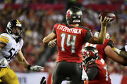 Ryan Fitzpatrick #14 of the Tampa Bay Buccaneers throws a pass in the second quarter against the Pittsburgh Steelers on September 24, 2018 at Raymond James Stadium in Tampa, Florida.