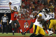 Quarterback Ryan Fitzpatrick #14 of the Tampa Bay Buccaneers throws to an open receiver during the first quarter of a game against the Pittsburgh Steelers on September 24, 2018 at Raymond James Stadium in Tampa, Florida.