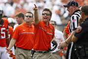Head Coach Mike Gundy of the Oklahoma State Cowboys questions a call during the game against the Pittsburgh Panthers September 17, 2016 at Boone Pickens Stadium in Stillwater, Oklahoma.