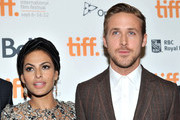 """Actors (L-R) Eva Mendes and Ryan Gosling attend """"The Place Beyond The Pines"""" premiere during the 2012 Toronto International Film Festival at Princess of Wales Theatre on September 7, 2012 in Toronto, Canada."""