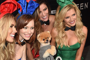 (L-R) Playmates Kayla Rae Reid, Kimberly Phillips, Jiff the Pomeranian, playmates Crystal McCahill and Stephanie Branton arrive at The Playboy Party during Super Bowl Weekend, which celebrated the future of Playboy and its newly redesigned magazine in a transformed space within Lot A of AT&T Park on February 5, 2016 in San Francisco, California.