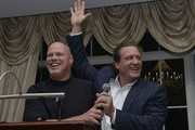 Jim McMahon and Jeremy Roenick attend Players Against Concussions at Pelham Country Club on October 6, 2014 in Pelham Manor, New York.