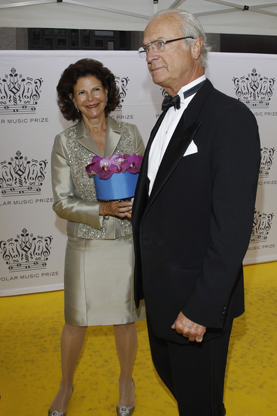 Queen Silvia of Sweden and King Carl XVI Gustaf of Sweden arrive for the Polar Music Prize at Konserthuset on August 28, 2012 in Stockholm, Sweden.