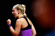 Sabine Lisicki of Germany celebrates a point during her match against Timea Babos of Hungary during Day 1 of the Porsche Tennis Grand Prix at Porsche-Arena on April 18, 2016 in Stuttgart, Germany.