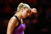 Sabine Lisicki of Germany reacts in her match against Timea Babos of Hungary during Day 1 of the Porsche Tennis Grand Prix at Porsche-Arena on April 18, 2016 in Stuttgart, Germany.