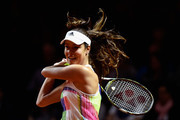 Ana Ivanovic of Serbia plays a backhand in her match against Carina Witthoeft of Germany during Day 2 of the Porsche Tennis Grand Prix at Porsche-Arena on April 19, 2016 in Stuttgart, Germany.