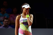 Ana Ivanovic of Serbia looks dejected during her match against Karolina Pliskova of Czech Republic during Day 4 of the Porsche Tennis Grand Prix at Porsche-Arena on April 21, 2016 in Stuttgart, Germany.