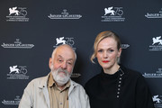 British filmmakers Director Mike Leigh and Actress Maxine Peake poses to promote her film 'Peterloo' in the Jaeger-LeCoultre Lounge at the 75th Venice Film Festival at Hotel Excelsior on September 1, 2018 in Venice, Italy.