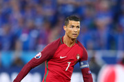 Cristiano Ronaldo of Portugal in action during the UEFA EURO 2016 Group F match between Portugal and Iceland at Stade Geoffroy-Guichard on June 14, 2016 in Saint-Etienne, France.