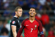 Cristiano Ronaldo of Portugal reacts during the UEFA EURO 2016 Group F match between Portugal and Iceland at Stade Geoffroy-Guichard on June 14, 2016 in Saint-Etienne, France.