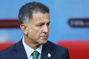 Juan Carlos Osorio, head coach of Mexico looks prior to the FIFA Confederations Cup Russia 2017 Group A match between Portugal and Mexico at Kazan Arena on June 18, 2017 in Kazan, Russia.