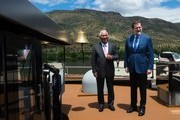 """Spanish Prime Minister Mariano Rajoy (R) and his Portuguese counterpart Antonio Costa pose on the """"MS Douro Elegance"""" ship on the first day of the XXIX Portugal - Spain summit in La Fregeneda, on May 29, 2017. / AFP PHOTO / MIGUEL RIOPA"""