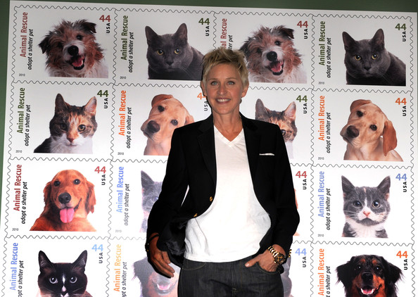 Ellen+DeGeneres in The Postal Service Dedicates The Animal Rescue: Adopt A Shelter Pet Stamp