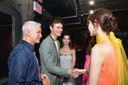 Filmmaker Baz Luhrmann, Actor Ansel Elgort, Ballerina Violetta Komyshan, and Singer Yoona Lim attend the Prada Resort 2019 fashion show on May 4, 2018 in New York City.