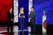 Draw assistant Diego Forlan (L) and Draw assistant Ronaldo speak to presenter Natalia Vodianova during the Preliminary Draw of the 2018 FIFA World Cup in Russia at The Konstantin Palace on July 25, 2015 in Saint Petersburg, Russia.