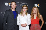 (L-R) Dan Madison Savage, Alice Englert and Britt Poulton arrive at the premiere of 1091 Media's 'Them That Follow' at the Landmark Theatre on July 30, 2019 in Los Angeles, California.