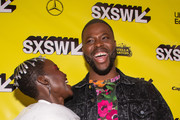 """Lupita Nyong'o and Winston Duke attend the """"Us"""" Premiere 2019 SXSW Conference and Festivals at Paramount Theater on March 08, 2019 in Austin, Texas."""