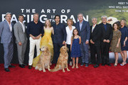 """(L-R) Gary Cole, Patrick Dempsey, Kevin Costner, Amanda Seyfried, Milo Ventimiglia, Kathy Baker, Martin Donovan, Garth Stein, Simon Curtis, Elizabeth Gabler, Butler Parker and Ryan Armstrong attend the premiere of 20th Century Fox's """"The Art of Racing in the Rain"""" at El Capitan Theatre on August 01, 2019 in Los Angeles, California."""